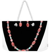 3570 Cherry Quartz Czech Glass Set Weekender Tote Bag