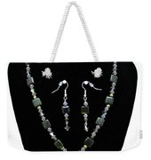3576 Kambaba And Green Lace Jasper Necklace And Earrings Weekender Tote Bag