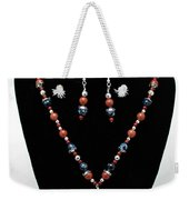 3578 Jasper And Agate Long Necklace And Earrings Set Weekender Tote Bag