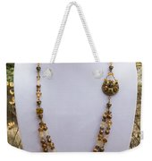 3615 Long Pearl Crystal And Citrine Necklace Featuring Vintage Brass Brooch  Weekender Tote Bag