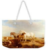 Willis Henry Brittan Horses And Cattle On The Shore Henry Brittan Willis Weekender Tote Bag