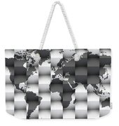3d Black And White World Map Composition Weekender Tote Bag