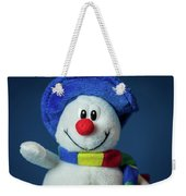 A Cute Little Soft Snowman With A Blue Hat And A Colorful Scarf Weekender Tote Bag