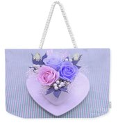 A Gift Of Preservrd Flower And Clay Flower Arrangement, Blue And Weekender Tote Bag