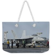 An Fa-18f Super Hornet On The Flight Weekender Tote Bag