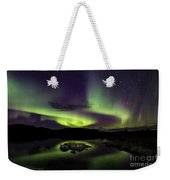 Aurora Borealis Over Iceland Weekender Tote Bag