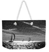 4 Boats On The Horizon Bw Weekender Tote Bag