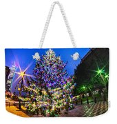 Christmas Tree Near Panther Stadium In Charlotte North Carolina Weekender Tote Bag