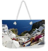 Cliff Perched Houses In The Town Of Oia On The Greek Island Of Santorini Greece Weekender Tote Bag