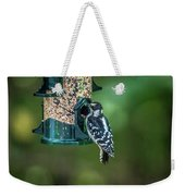 Downy Woodpecker In The Wild Weekender Tote Bag