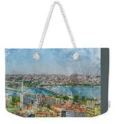 Istanbul Turkey Cityscape Digital Watercolor On Photograph Weekender Tote Bag