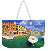 Lazise Colorful Harbor And Boats Panoramic View Weekender Tote Bag