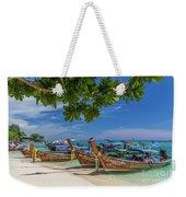 Long-tail Boats, The Andaman Sea And Hills In Ko Phi Phi Don, Th Weekender Tote Bag