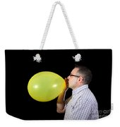 Man Inflating Balloon Weekender Tote Bag