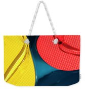 Multicolored Flip Flops Floating In Pool Weekender Tote Bag