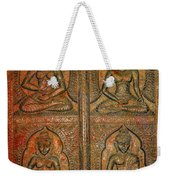 4 Panels Buddhas Wall Carving With Antique Filter Weekender Tote Bag