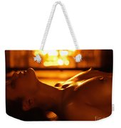 Sexy Naked Woman Under Melting Icicles Weekender Tote Bag