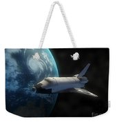 Space Shuttle Backdropped Against Earth Weekender Tote Bag