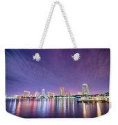 St Petersburg Florida City Skyline And Waterfront At Night Weekender Tote Bag