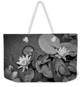4432- Lily Pads Black And White Weekender Tote Bag
