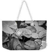 4434- Lily Pads Black And White Weekender Tote Bag