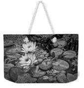 4445- Lily Pads Black And White Weekender Tote Bag