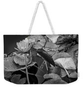 4466- Lily Pads Black And White Weekender Tote Bag