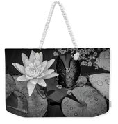 4475- Lily Pads Black And White Weekender Tote Bag