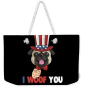 4th Of July Usa Indepedence Day Patriotic Uncle Sam Pug Dog Weekender Tote Bag