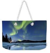 Aurora Borealis Over Sandvannet Lake Weekender Tote Bag