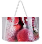 Frozen Strawberry With Sour Cream In Glass Weekender Tote Bag