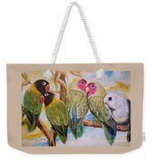 Flygende Lammet     Productions          5 Lovebirds Sitting On A Twig Weekender Tote Bag
