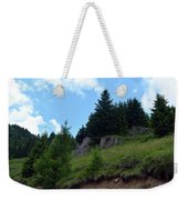 Natural Scenery With Mountains And Cloudy Sky. Weekender Tote Bag