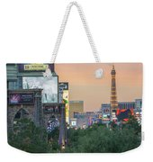 november 2017 Las Vegas, Nevada - evening shot of eiffel tower a Weekender Tote Bag