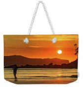 Orange Sunrise Seascape And Silhouettes Weekender Tote Bag