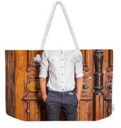 Portrait Of Young American Businessman Weekender Tote Bag