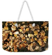 Silver Birch Leaves Lying On A Brick Path In A Cheshire Garden On An Autumn Day   England Weekender Tote Bag