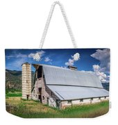 Summer Sunset With A Red Barn In Rural Montana And Rocky Mountai Weekender Tote Bag