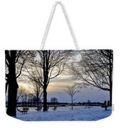 Sunset Over Obear Park In Snow Weekender Tote Bag