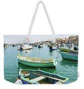 Traditional Boats At Marsaxlokk Harbor In Malta Weekender Tote Bag