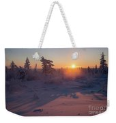 Winter Evening Landscape With Forest, Sunset And Cloudy Sky.  Weekender Tote Bag