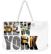 Yellow Cab Speeds Through Times Square In New York, Ny, Usa.  Weekender Tote Bag