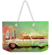 57 Chevy Nomad Wagon Blowing Beach Sand Weekender Tote Bag