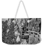 5807- Yellow Mountains Black And White Weekender Tote Bag