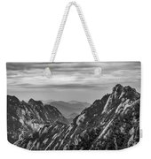 5818- Yellow Mountains Black And White Weekender Tote Bag