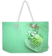 A Gift Of Preservrd Flower And Clay Flower Arrangement, White An Weekender Tote Bag