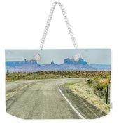 descending into Monument Valley at Utah  Arizona border  Weekender Tote Bag