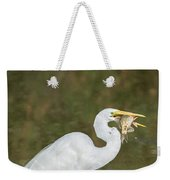 Great Egret With Fish Weekender Tote Bag