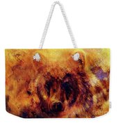 head of mighty brown bear, oil painting on canvas and graphic collage. Eye contact. Weekender Tote Bag