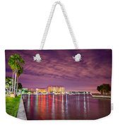 St Petersburg Florida City Skyline And Waterfront At Night Weekender Tote Bag